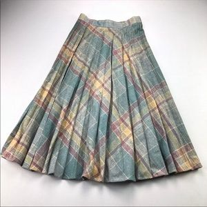 Vintage Wool Plaid Skirt Easter Spring Colors EUC